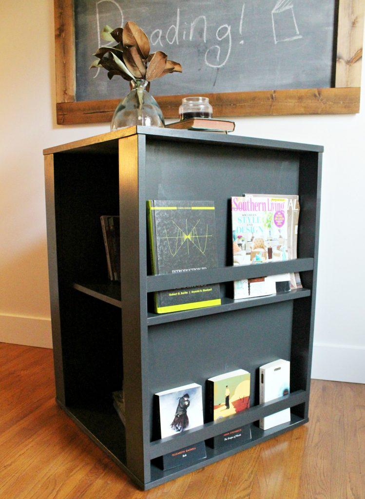 This easy to build four sided Kid's bookshelf is a really fun way to add functional storage to your kid's playroom. Get the free building plans to build your own DIY version of a spinning bookshelf here!