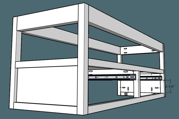 Install drawer slides into floating vanity