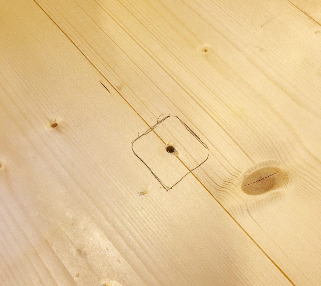 Trace clock movement onto DIY wood clock