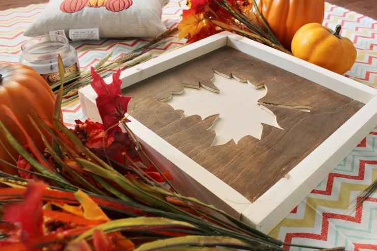 Super simple DIY fall leaf sign from scrap wood!