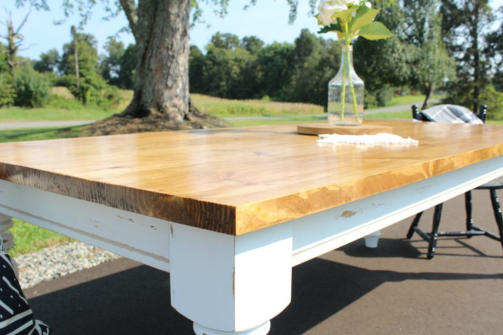How to Build your Own DIY Farmhouse Dining Table with white base and stained top