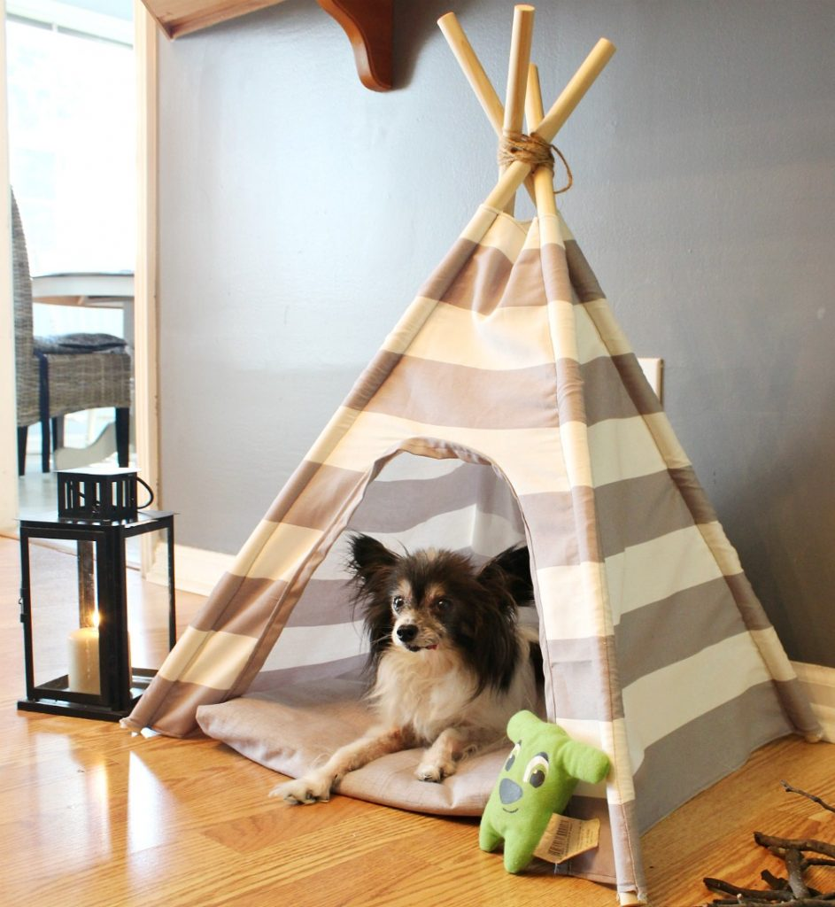 How to make a DIY dog tent from a little fabric and some dowel rods! Super easy sewing tutorial--great beginner project!
