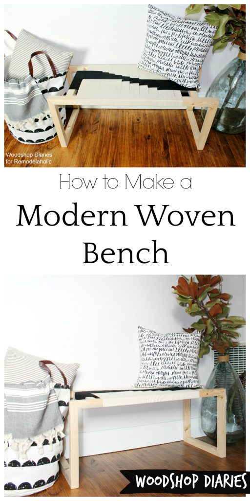 How to make your own DIY modern woven bench from just a few 2x2 boards and some twine! Get that modern boho look for cheap with this easy DIY tutorial!