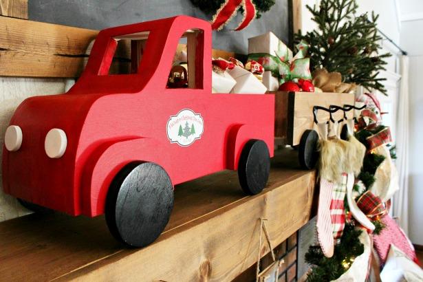 Little red wooden truck Christmas stocking hanger box