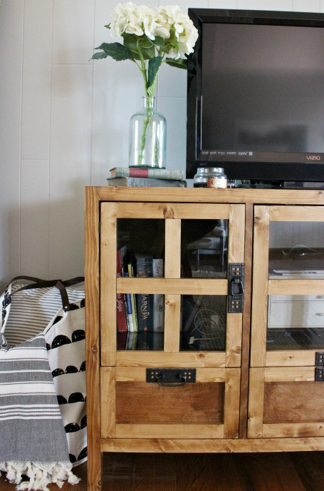 DIY Display Media Console Cabinet--free building plans and how to make glass panel doors!
