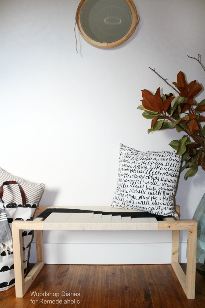 How to build your own DIY modern woven bench with a few simple tools, a couple boards and some black and white string!