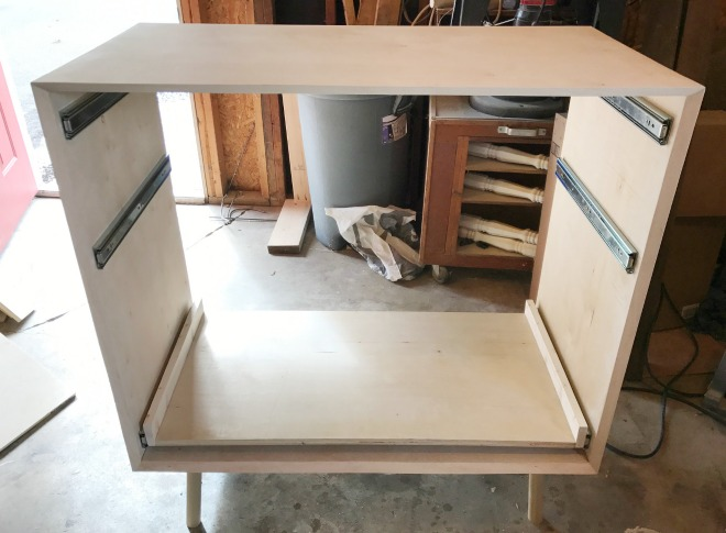how to build a DIY mid century modern dresser cabinet