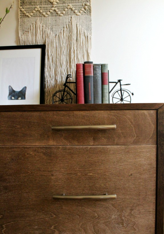 How to build a mid century modern dresser--how to miter corner cabinets and build a round leg furniture base Stained in Minwax special walnut and build from plywood.
