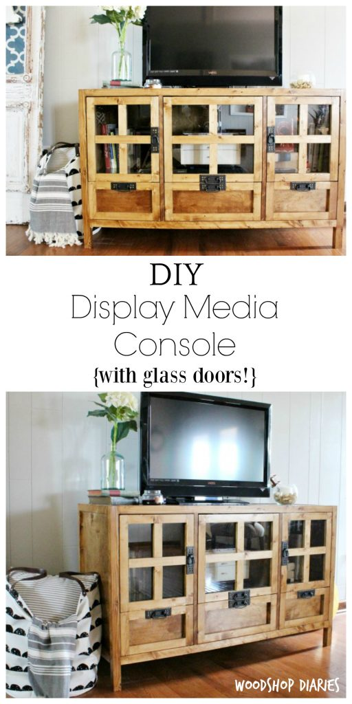 How to build a DIY display media console cabinet or tv stand! Get the free building plans here and make your own TV stand with glass doors and drawers for extra storage. Stained in Minwax Early American with mission style hardware