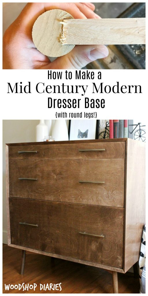 How to build a mid century modern furniture base to use with cabinets, dressers, desks, or tables.  This technique uses round legs and straight supports to make that mid century modern look