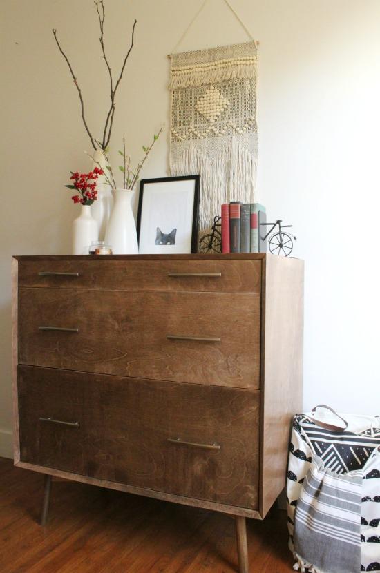 DIY Mid century modern dresser base with round angled legs