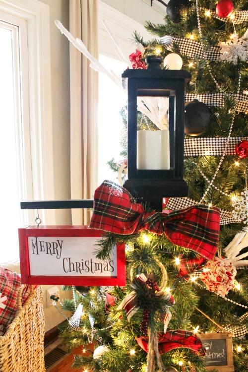 DIY Christmas Lantern Post with Merry Christmas Sign