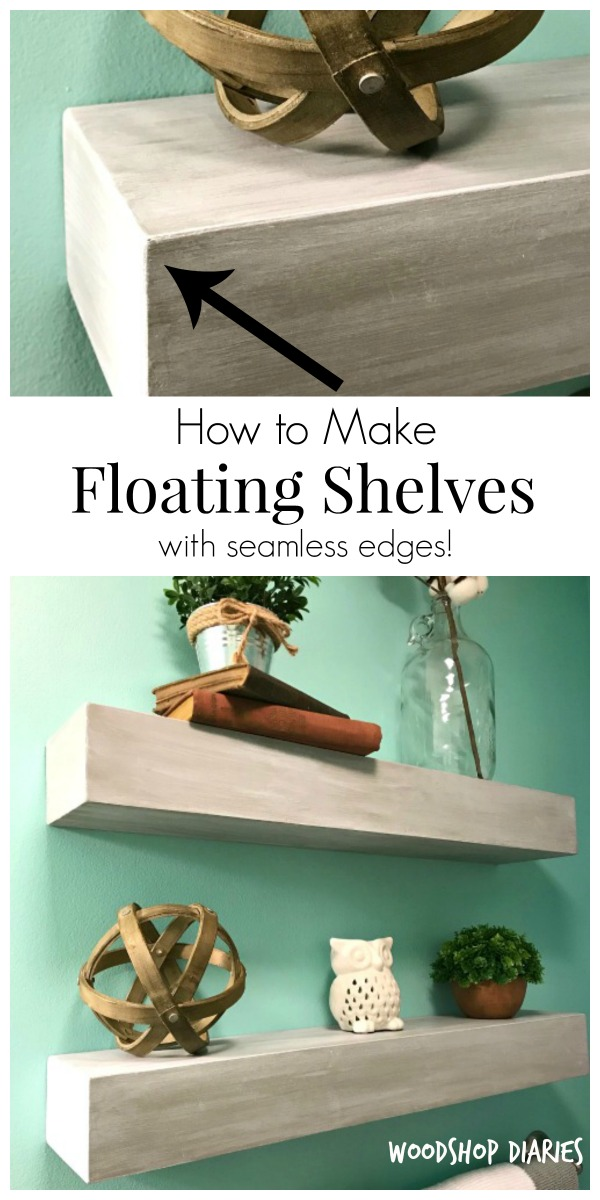 How to make seamless floating shelves collage pinterest image