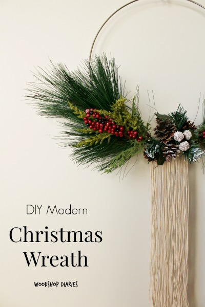 How to make your own DIY Modern Christmas Wreath from macrame hoop and a few floral stems! Very easy DIY wreath for Scandinavian style Christmas decor