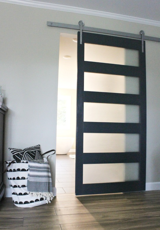 DIY Modern sliding door with frosted glass panels painted in Sherwin Williams Naval