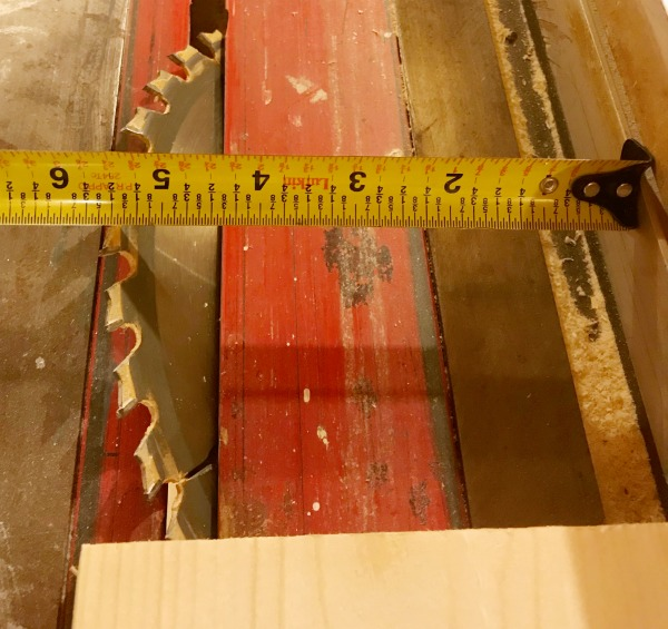 Bevel table saw blade to miter corners of seamless shelf boards