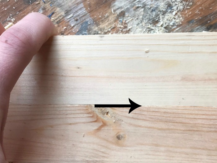 Clean joints on two boards pressed together