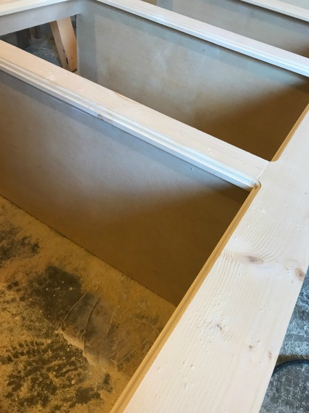 Add Roman Ogee decorative edge to fake drawer cabinet door opening