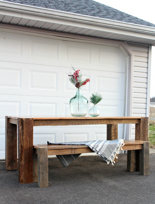 DIY barn wood dining table tutorial--how to turn old tobacco barn into gorgeous dining table