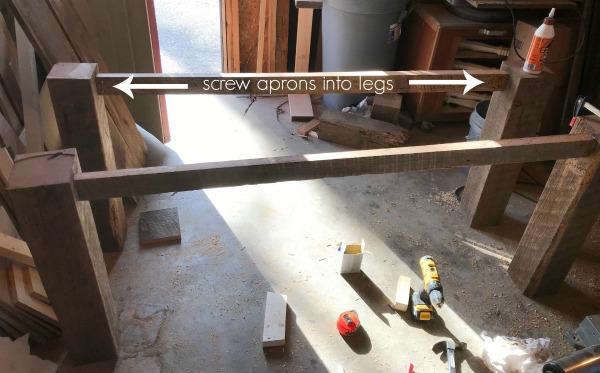 building barn wood table base