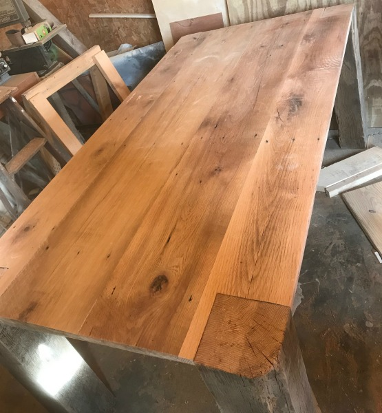 test fit barn wood table top to base
