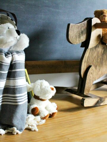 How to build a DIY rocking horse for toddler or small child--dog shaped rocking horse with template to make your own