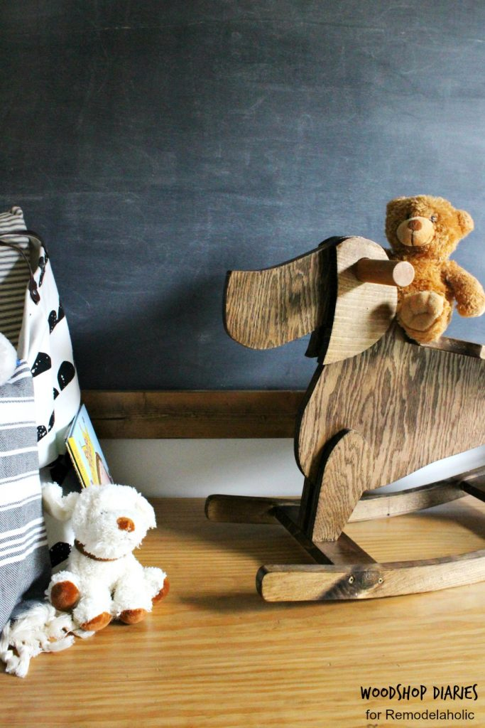 How to build a DIY kid's rocking horse that's dog shaped--easy to follow tutorial with template for shape cut outs. Great DIY kids project and perfect size for toddlers