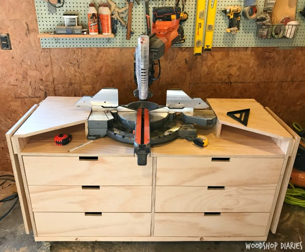 How to Build a DIY Mobile Miter Saw Stand with drawers and fold down wings
