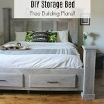 How to Build a Farmhouse Style DIY Storage Bed--Free Woodworking Plans and video tutorial!