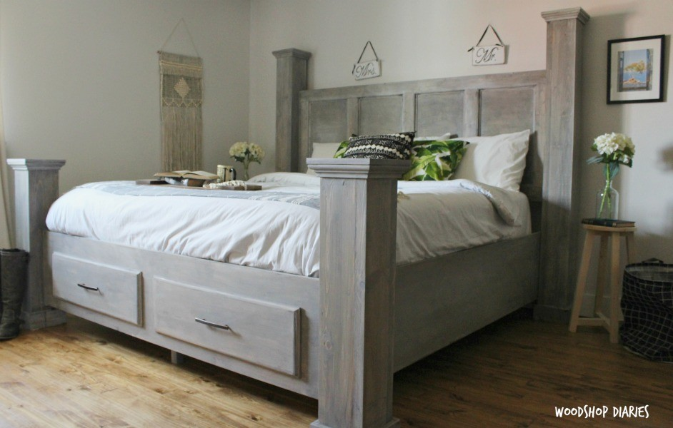 Diy farmhouse storage bed free woodworking plans and for Farmhouse bed plans