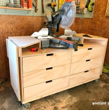 How to build a mobile Miter Saw Stand with storage drawers, and fold down extension wings