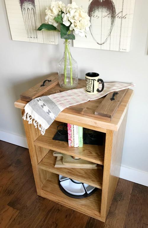 Small stand alone oak DIY bookshelf