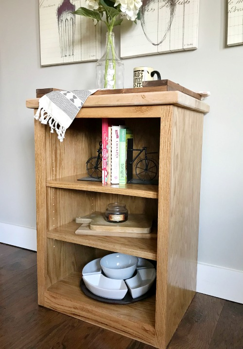 Simple oak DIY stand alone shelf with adjustable shelves