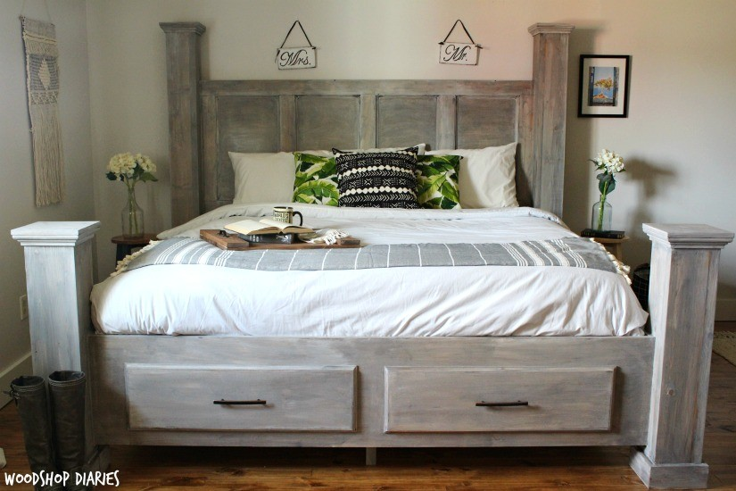How to Build a DIY Storage Bed--Free Building Plans for this farmhouse style storage bed