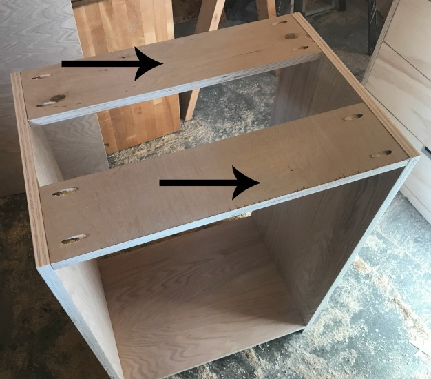 Attach top supports to shelf cabinet carcass