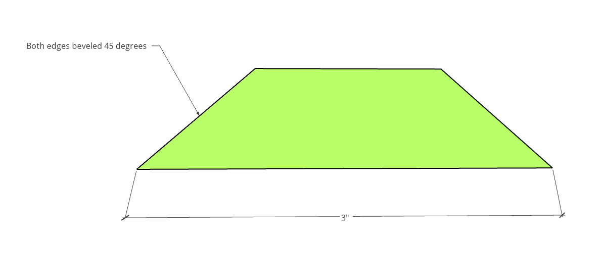 "Diagram of front board with beveled edges 3"" wide"