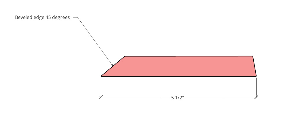 Diagram of top and bottom shelf pieces with one beveled edge