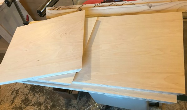 Plywood pieces cut to size to assemble DIY storage trunk