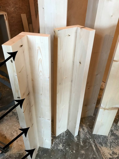 Two halves of bed post assembled