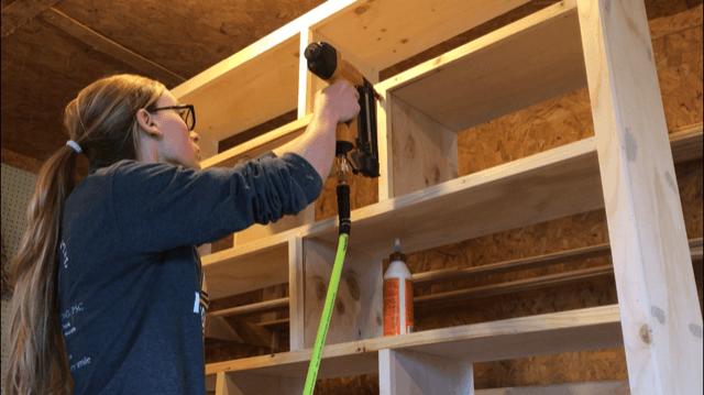 Add trim to diy shelf dividers