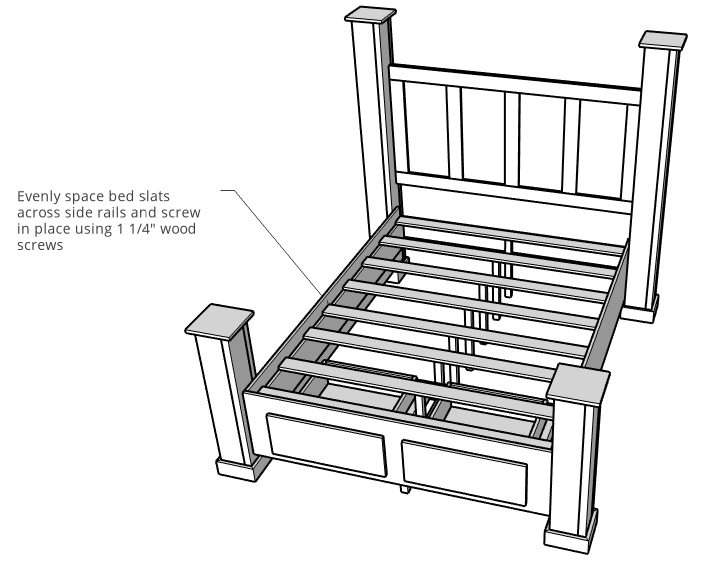 Slats installed onto DIY storage bed frame