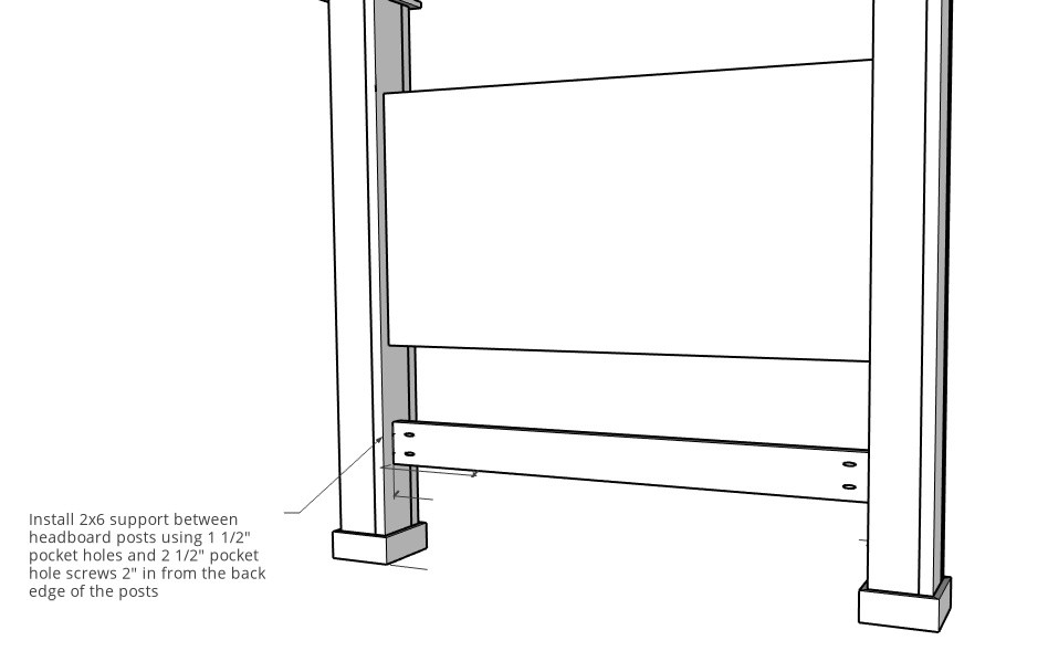 Bed rail support piece added onto headboard