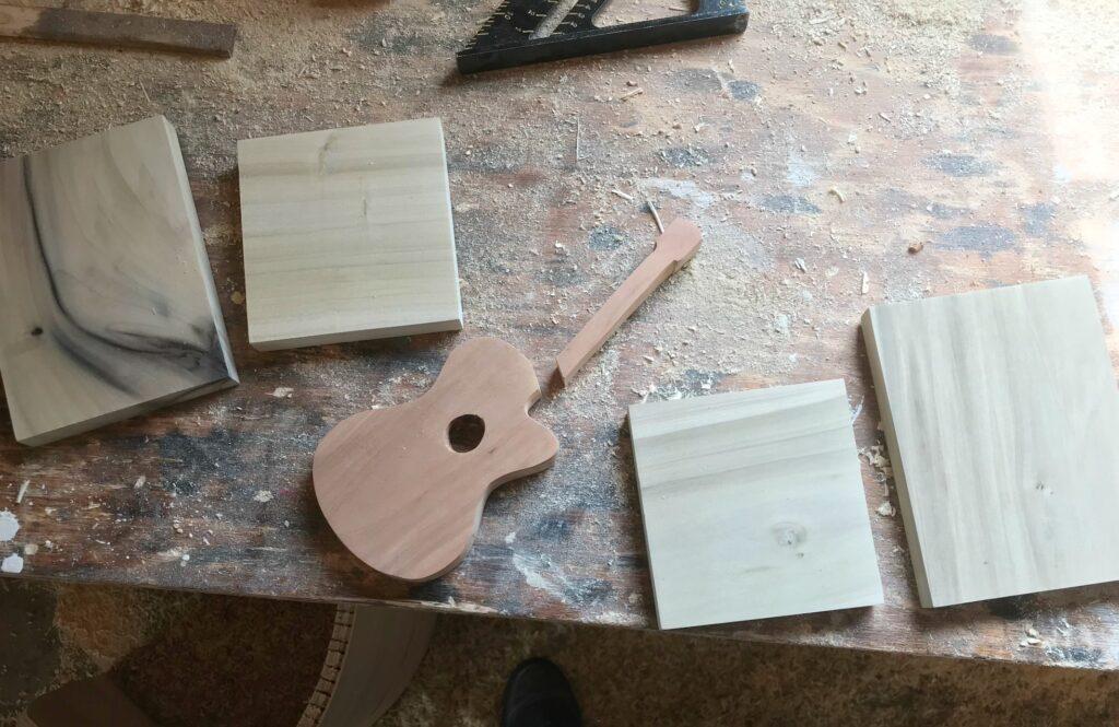 Scrap wood Guitar pieces cut to assemble bookends