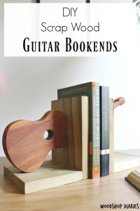 DIY Scrap Wood Project--Simple Guitar Shaped Bookends made from scrap wood and a few simple tools! Build several shapes and sizes to make your own DIY bookends