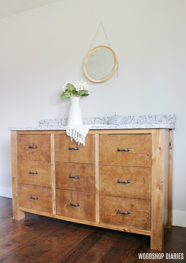 How to Build a DIY Faux Drawer Bathroom Vanity Cabinet with PureBond Plywood and Kreg Tools
