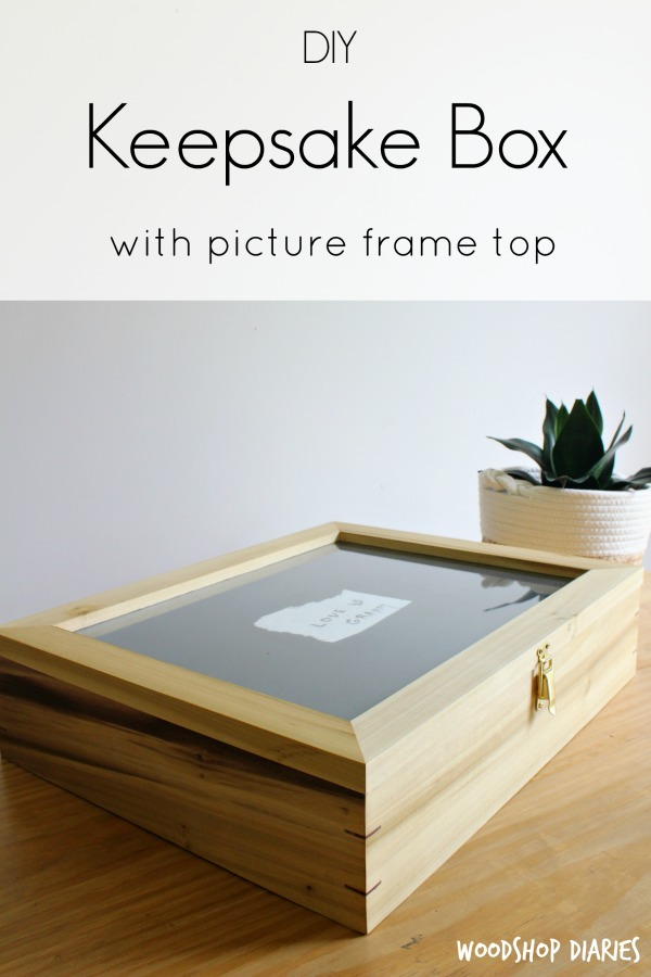 How to make a DIY Wooden Keepsake Box with Splines and Picture Frame Top--Beautiful Poplar and Walnut Wooden Box allows you to frame your keepsake for display and store the rest inside--free building plans and video tutorial