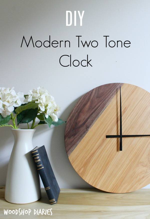 Simple two tone modern DIY wooden wall clock--walnut and hickory wood