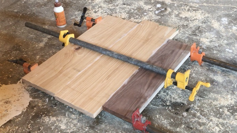 walnut and hickory panel gluing up