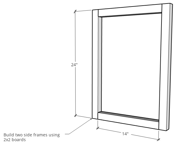Modern nightstand side frame assembly diagram