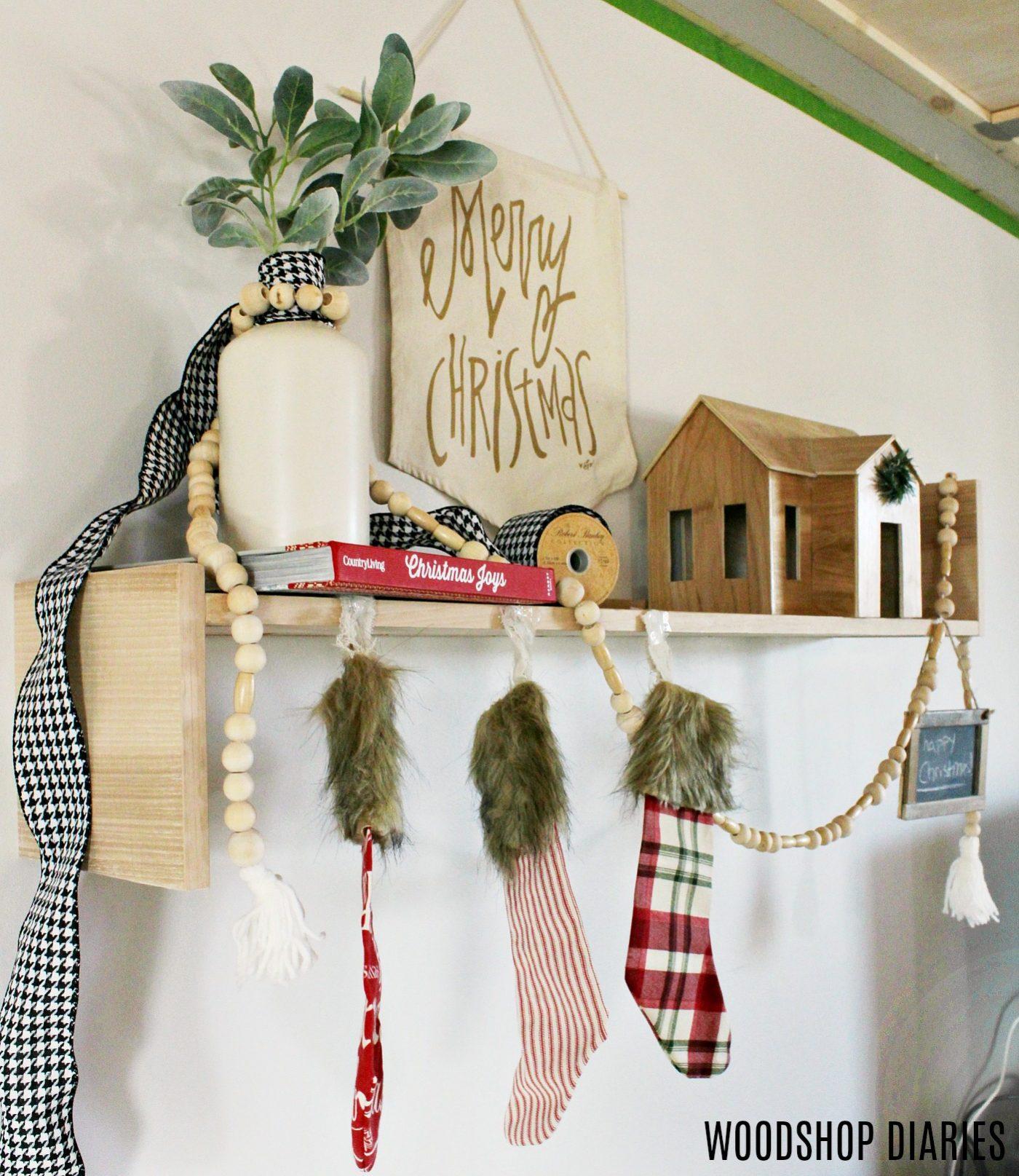 DIY Contemporary Modern Christmas Stocking Shelf